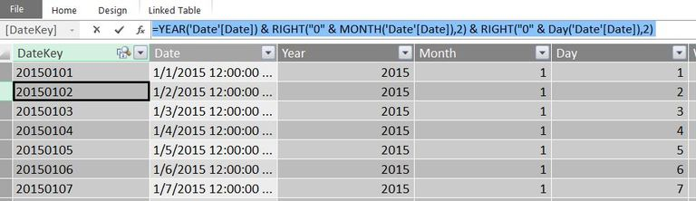 How to create a date table in PowerPivot with one single